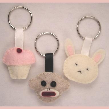 felt cupcake keyring animals