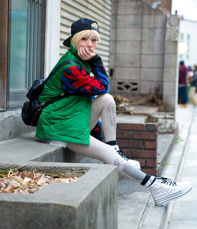 japanese street fashion patterned tights