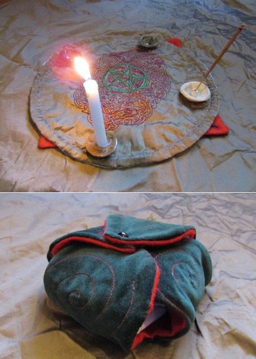 portable altar celtic spiral