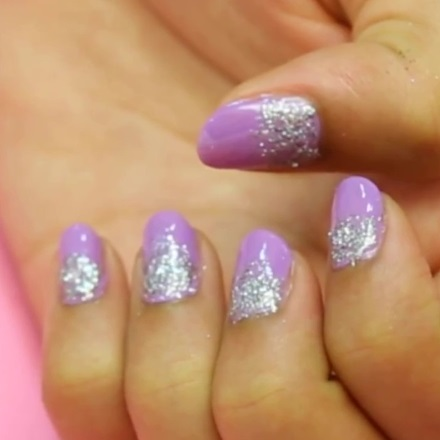 Lilac Glitter Nail Art Diy Tutorial